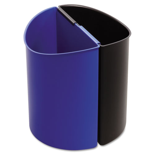 Safco® Desk-Side Recycling Receptacle, 3 gal, Black/Blue