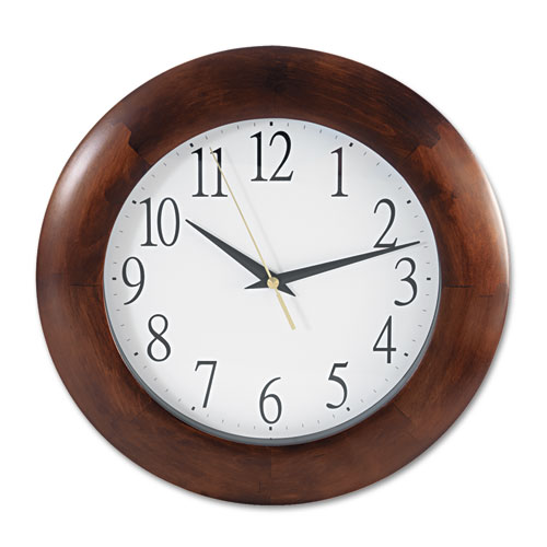 "Round Wood Wall Clock, 12.75"" Overall Diameter, Cherry Case, 1 AA (sold separately) 