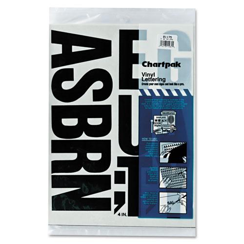 "Chartpak® Press-On Vinyl Letters & Numbers, Self Adhesive, Black, 1/4""h, 610/Pack"