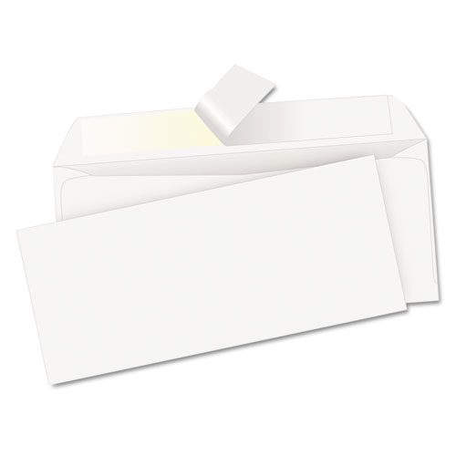 Redi-Strip Envelope, #10, Commercial Flap, Redi-Strip Closure, 4.13 x 9.5, White, 500/Box | by Plexsupply