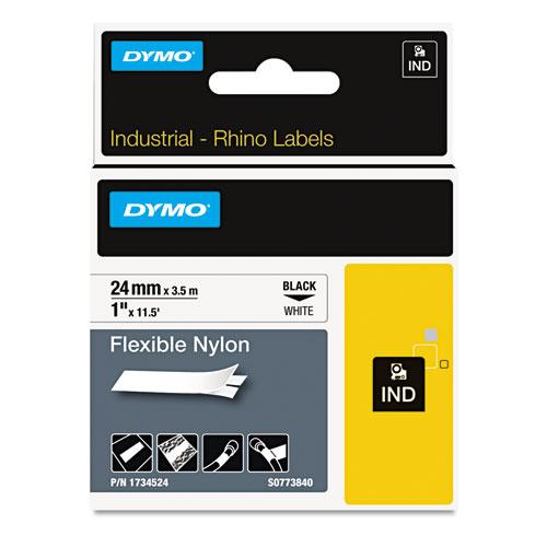 Rhino Flexible Nylon Industrial Label Tape, 1 x 11.5 ft, White/Black Print
