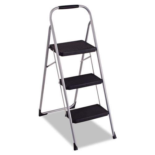 Cosco® 3-Step Big Step Folding Stool, 200 lb Capacity, 17.75w x 28d x 45.63h, Light Gray