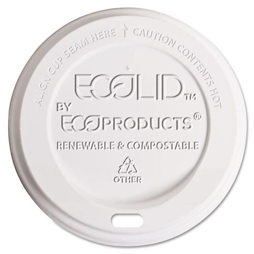 EcoLid Renewable & Compost Hot Cup Lids, Fits 10-20oz Hot Cups, 50/PK, 16 PK/CT EPECOLIDW
