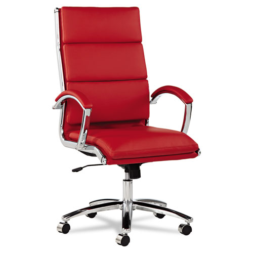 Alera® Alera Neratoli High-Back Slim Profile Chair, Supports up to 275 lbs., Red Seat/Red Back, Chrome Base