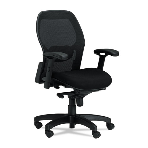 Mercado Series Mid Back Mesh Chair, Mesh Back/Fabric Seat, Black   Stone  Printing Office Supply