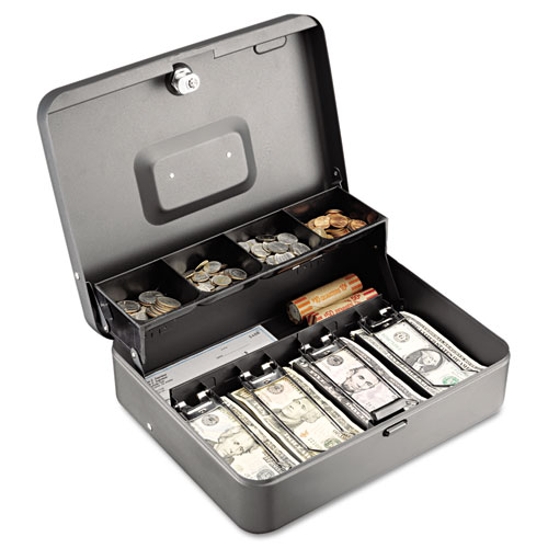 Tiered Cash Box w/Bill Weights, Cam Key Lock, Charcoal | by Plexsupply