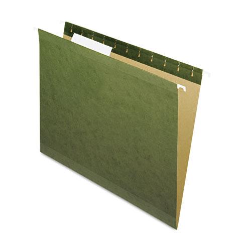 Reinforced Hanging File Folders, Letter Size, 1/3-Cut Tab, Standard Green, 25/Box