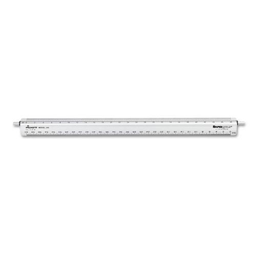 "Chartpak® Adjustable Triangular Scale Aluminum Engineers Ruler, 12"", Silver"