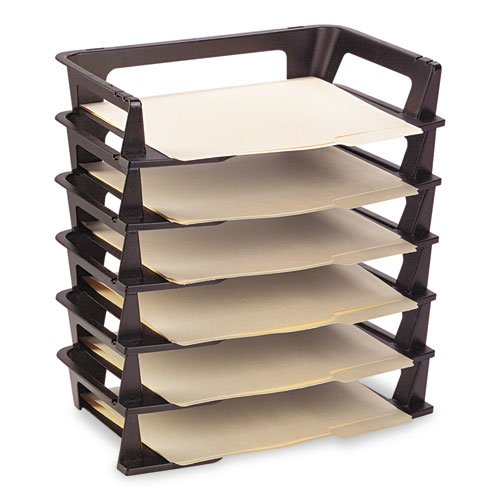 Regeneration Recycled Plastic Letter Tray, 6 Sections, Letter Size Files, 9.13 x 15.25 x 2.75, Black