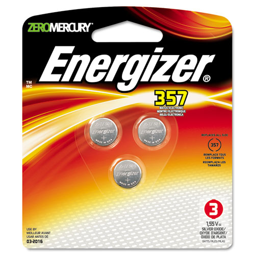 Energizer® Watch/Electronic Battery, SilvOx, 357, 1.5V, MercFree