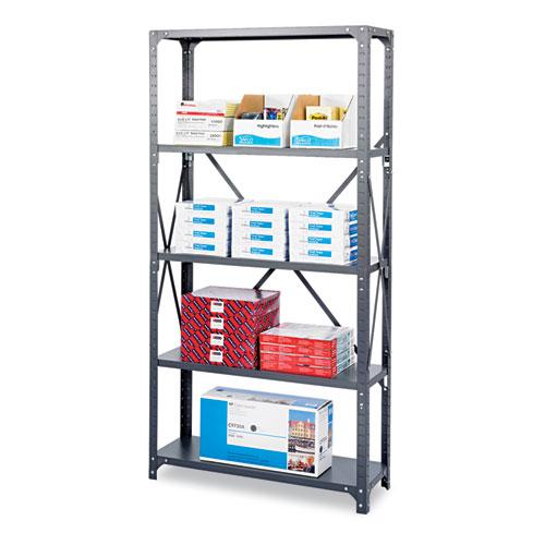 Safco® Commercial Steel Shelving Unit, Five-Shelf, 36w x 12d x 75h, Dark Gray