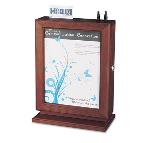 Customizable Wood Suggestion Box, 10 1/2 x 5 3/4 x 14 1/2, Mahogany | by Plexsupply