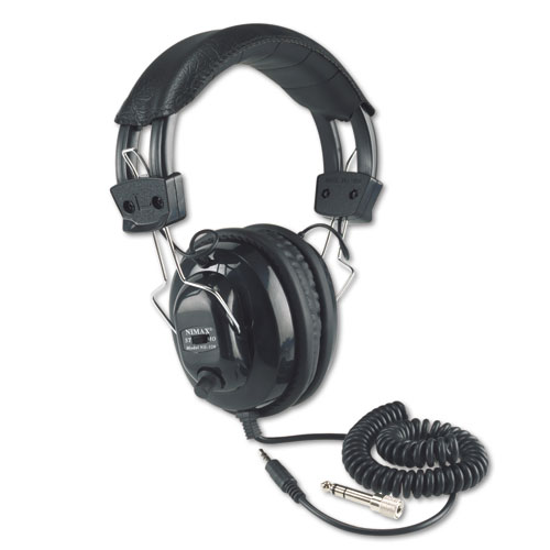 Deluxe Stereo Headphones w/Mono Volume Control, Black | by Plexsupply