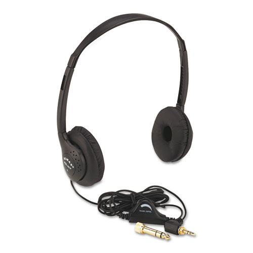 Personal Multimedia Stereo Headphones with Volume Control, Black | by Plexsupply
