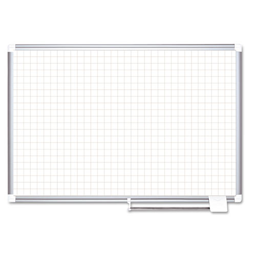 "Grid Planning Board, 1"" Grid, 72 x 48, White/Silver 