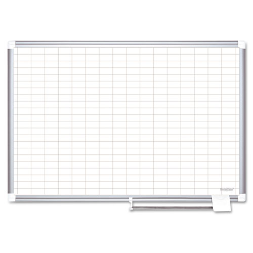 Grid Planning Board, 1 x 2 Grid, 48 x 36, White/Silver | by Plexsupply