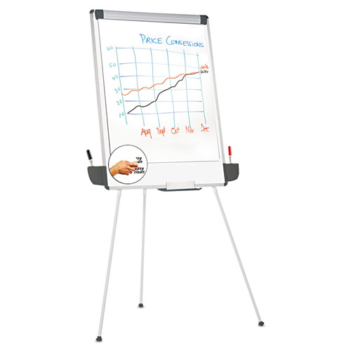 Tripod-Style Dry Erase Easel, Easel: 44 to 78, Board: 29 x 41, White/Silver