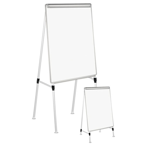 "Dry Erase Easel Board, Easel Height: 42"" to 67"", Board: 29"" x 41"", White/Silver 