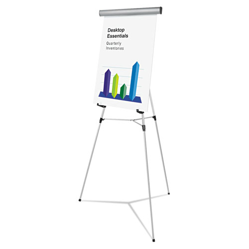 Heavy-Duty Adjustable Presentation Easel, 69 Maximum Height, Metal, Silver