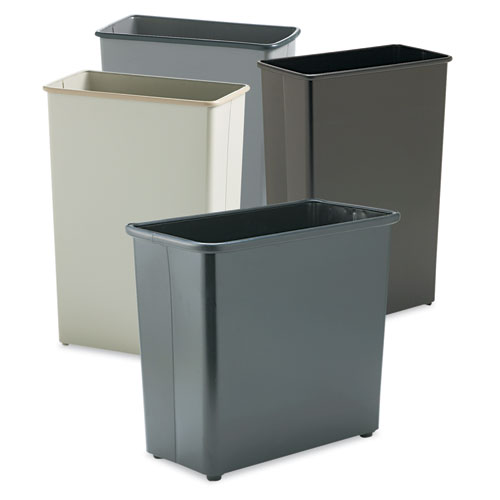 Safco® Rectangular Wastebasket, Steel, 27.5 qt, Black