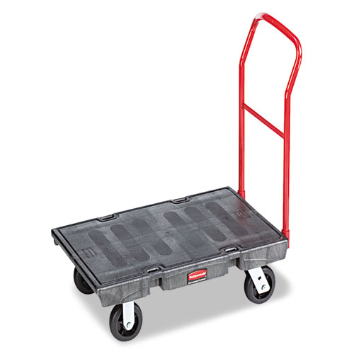 Heavy-Duty Platform Truck Cart, 2,000 lb Capacity, 24 x 48 Platform, Black | by Plexsupply
