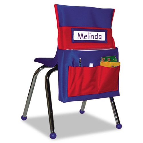 Chairback Buddy Pocket Chart, 12 x 22 1/2, Blue/Red | by Plexsupply