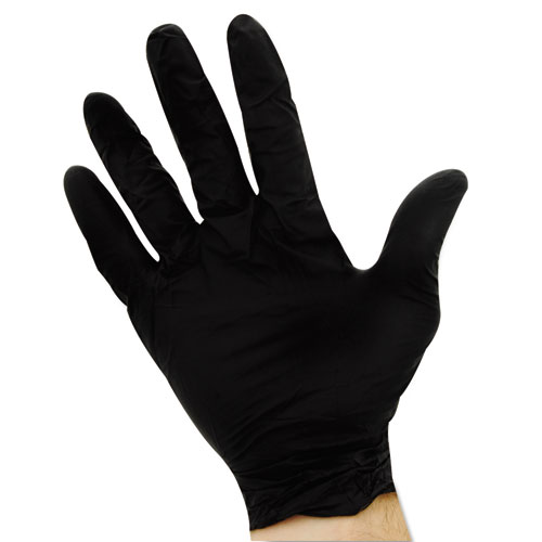 ProGuard Disposable Nitrile Gloves, Powder-Free, Black, Large, 100/Box