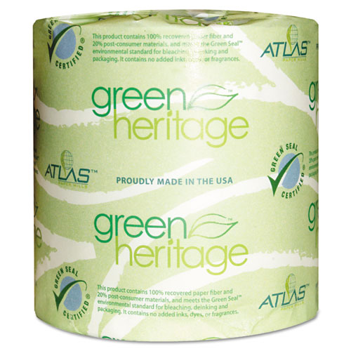 Green Heritage Professional Toilet Tissue, Septic Safe, 1-Ply, White, 4.4 x 3.8, 1000/Roll, 96 Roll/Carton