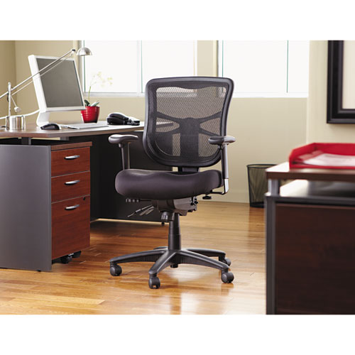 Alera Elusion Series Mesh Mid Back Multifunction Chair, Black