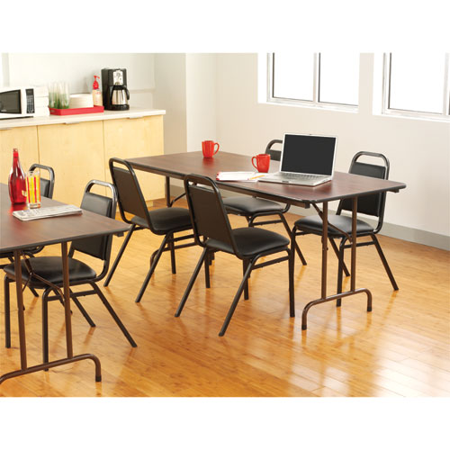 Wood Folding Table Rectangular 72w X 30d X 29h Mahogany Office