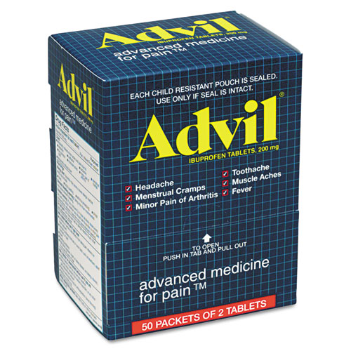 Advil® Ibuprofen Tablets, Two-Packs, 50 Packs/Box
