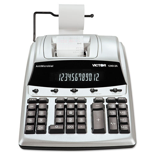 1240-3A Antimicrobial Printing Calculator, Black/Red Print, 4.5 Lines/Sec | by Plexsupply