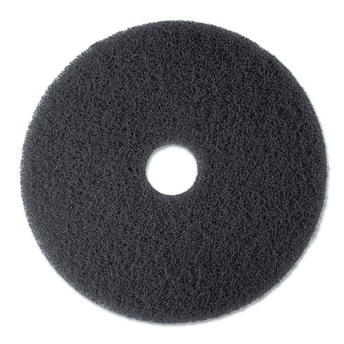 "3M™ High Productivity Floor Pad 7300, 17"" Diameter, Black, 5/Carton"