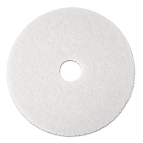 "Boardwalk® Polishing Floor Pads, 19"" Diameter, White, 5/Carton"