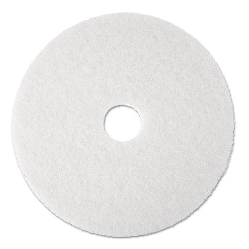 "Polishing Floor Pads, 19"" Diameter, White, 5/Carton | by Plexsupply"