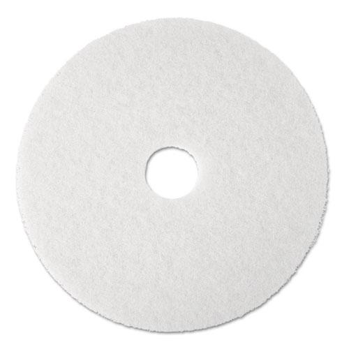 """3M™ Super Polish Floor Pad 4100, 20"""" Diameter, White, 5/Carton"""