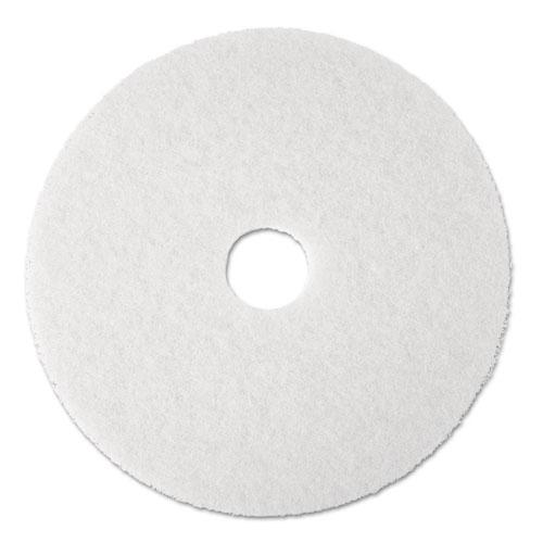 """3M™ Super Polish Floor Pad 4100, 17"""" Diameter, White, 5/Carton"""