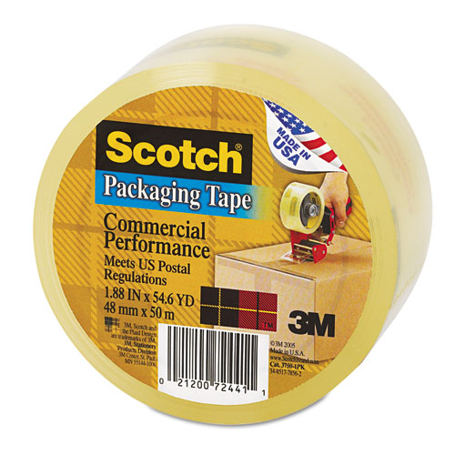 3750 Commercial Grade Packaging Tape with Dispenser, 3 Core, 1.88 x 54.6 yds, Clear