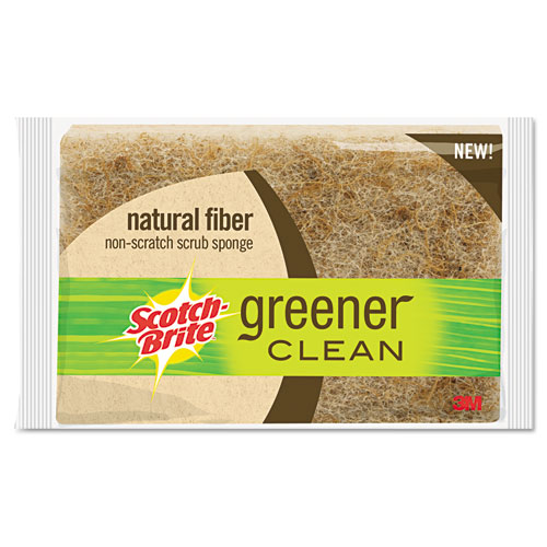 "Scotch-Brite™ Light-Duty Natural Fiber Scrub Sponge, 4 1/2 x 2 7/10, 4/5"" Thick, Natural 12/CT"