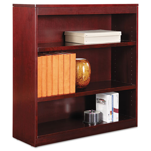 "Square Corner Wood Veneer Bookcase, Three-Shelf, 35.63""w x 11.81""d x 35.91""h, Mahogany 