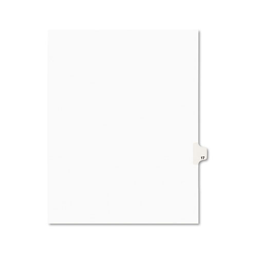 Preprinted Legal Exhibit Side Tab Index Dividers, Avery Style, 10-Tab, 17, 11 x 8.5, White, 25/Pack, (1017)