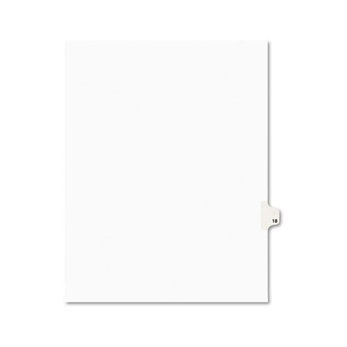 Preprinted Legal Exhibit Side Tab Index Dividers, Avery Style, 10-Tab, 18, 11 x 8.5, White, 25/Pack, (1018)