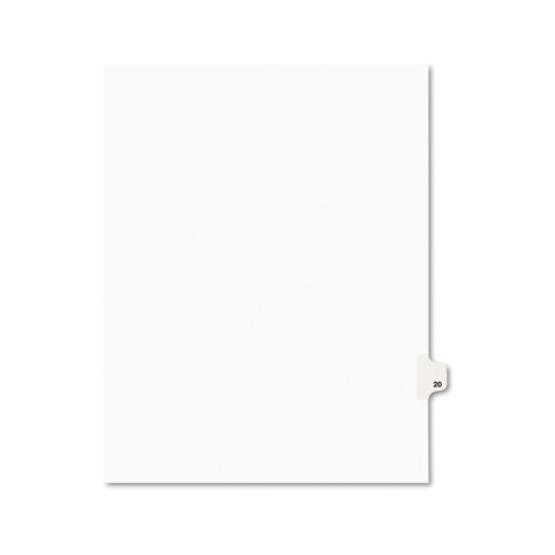 Preprinted Legal Exhibit Side Tab Index Dividers, Avery Style, 10-Tab, 20, 11 x 8.5, White, 25/Pack, (1020)