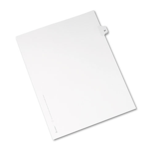 Avery-Style Legal Exhibit Side Tab Divider, Title: 21, Letter, White,  25/Pack