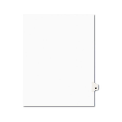 Preprinted Legal Exhibit Side Tab Index Dividers, Avery Style, 10-Tab, 21, 11 x 8.5, White, 25/Pack, (1021)