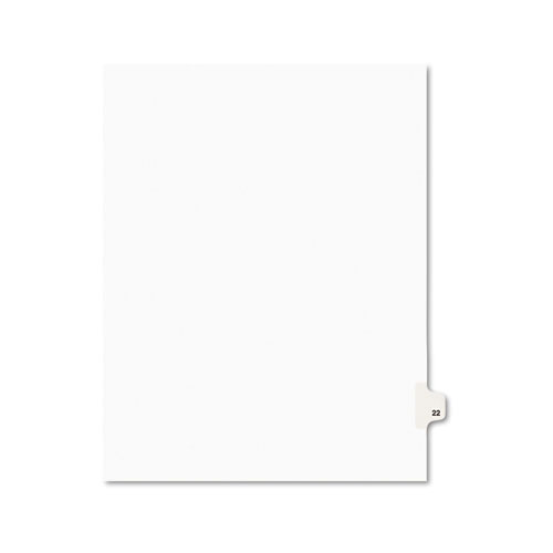 Preprinted Legal Exhibit Side Tab Index Dividers, Avery Style, 10-Tab, 22, 11 x 8.5, White, 25/Pack, (1022)