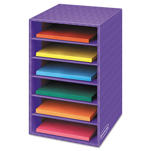 Vertical Classroom Organizer, 6 shelves, 11 7/8 x 13 1/4 x 18, Purple