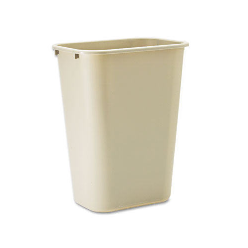 Deskside Plastic Wastebasket, Rectangular, 10.25 gal, Beige | by Plexsupply