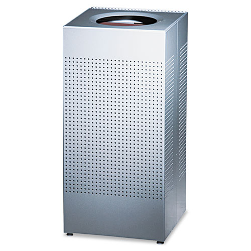 Rubbermaid® Commercial Designer Line Silhouettes Receptacle, Steel, 16 gal, Silver Metallic