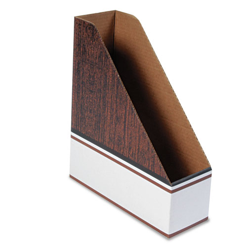 Corrugated Cardboard Magazine File, 4 x 11 x 12 3/4, Wood Grain, 12/Carton | by Plexsupply